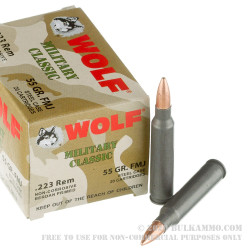 1000 Rounds of .223 Ammo by Wolf Military Classic - 55gr FMJ