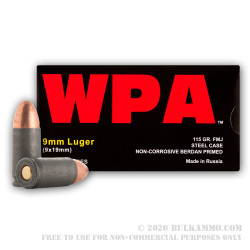 500  Rounds of 9mm Ammo by Wolf WPA - 115gr FMJ