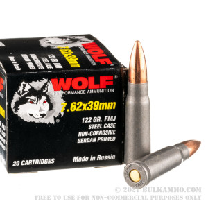 1000 Rounds of 7.62x39mm Ammo by Wolf - 122gr FMJ review