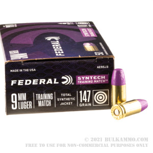 500 Rounds of 9mm Ammo by Federal Syntech Training Match - 147gr Total Synthetic Jacket FN review