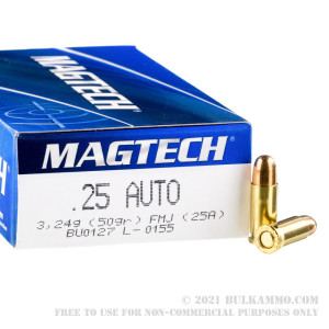50 Rounds of .25 ACP Ammo by Magtech - 50gr FMJ review