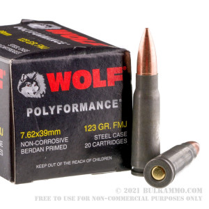 1000 Rounds of 7.62x39mm Ammo by Wolf WPA Polyformance - 123gr FMJ review