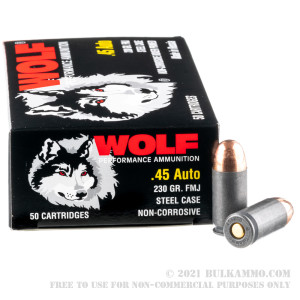 50  Rounds of .45 ACP Ammo by Wolf - 230gr FMJ review