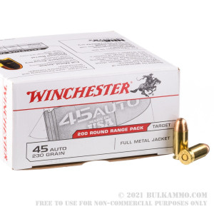 200 Rounds of .45 ACP Ammo by Winchester - 230gr FMJ review