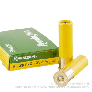5 Rounds of 20ga Ammo by Remington Slugger - 5/8 ounce Rifled Slug review