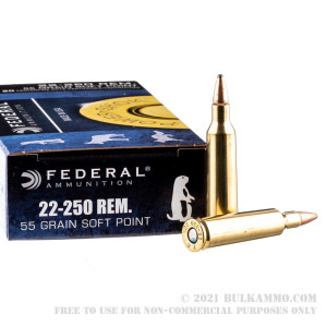 20 Rounds of .22-250 Rem Ammo by Federal - 55gr SP review