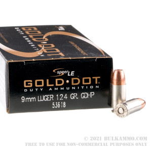 50 Rounds of 9mm Ammo by Speer LE - 124gr JHP review