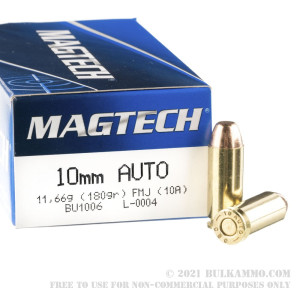 50 Rounds of 10mm Ammo by Magtech - 180gr FMJ review