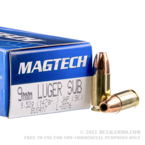 50 Rounds of 9mm Subsonic Ammo by Magtech - 147gr JHP review
