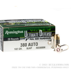20 Rounds of .380 ACP Ammo by Remington Ultimate Defense - 102 gr JHP review