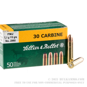 50 Rounds of .30 Carbine Ammo by Sellier & Bellot - 110gr FMJ review