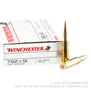 20 Rounds of 7.62x51mm Ammo by Winchester - 147gr FMJ review