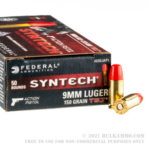 50 Rounds of 9mm Ammo by Federal Syntech Action Pistol - 150gr Total Synthetic Jacket review