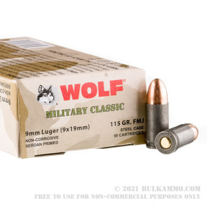 50 Rounds of 9mm Ammo by Wolf WPA Military Classic - 115gr FMJ review