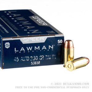 1000 Rounds of .45 ACP Ammo by Speer - 230gr TMJ review