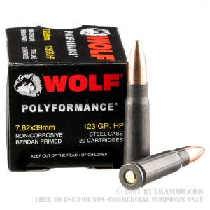 1000 Rounds of 7.62x39mm Ammo by Wolf WPA Polyformance - 123gr HP review