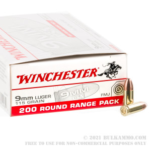 200 Rounds of 9mm Ammo by Winchester - 115gr FMJ review