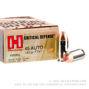 200 Rounds of .45 ACP Ammo by Hornady Critical Defense - 185gr JHP review
