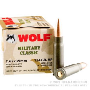 1000 Rounds of 7.62x39mm Ammo by Wolf Military Classic - 124gr HP review