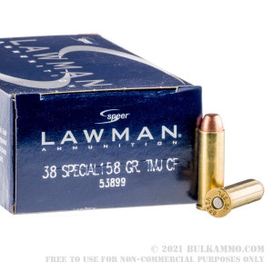 1000 Rounds of .38 Spl Ammo by Speer Lawman - 158gr TMJ review