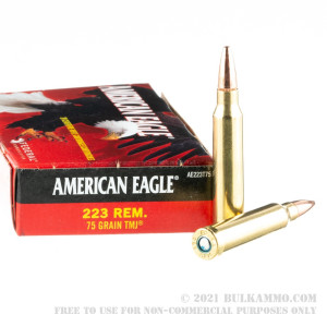 20 Rounds of .223 Rem Ammo by Federal American Eagle - 75gr TMJ review