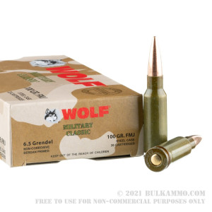 20 Rounds of 6.5mm Grendel  Ammo by Wolf Military Classic - 100 gr FMJ review