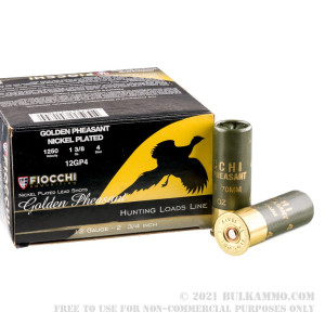250 Rounds of 12ga Ammo by Fiocchi Golden Pheasant - 1 3/8 ounce #4 shot Nickel Plated review