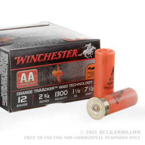 "25 Rounds of 12ga  2-3/4"" Ammo by Winchester AA Traacker Orange Traacker Wad - 1-1/8 ounce #7.5 Shot review"
