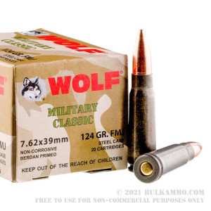 20 Rounds of 7.62x39mm Ammo by Wolf WPA Military Classic - 124gr FMJ review