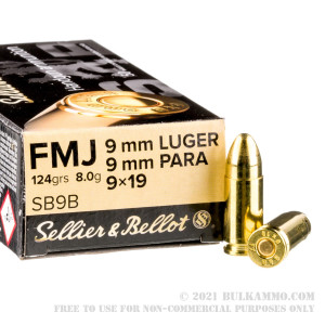 1000 Rounds of 9mm Ammo by Sellier & Bellot - 124gr FMJ review
