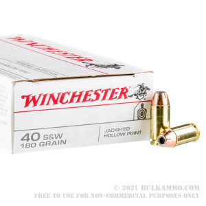 50 Rounds of .40 S&W Ammo by Winchester - 180gr JHP review