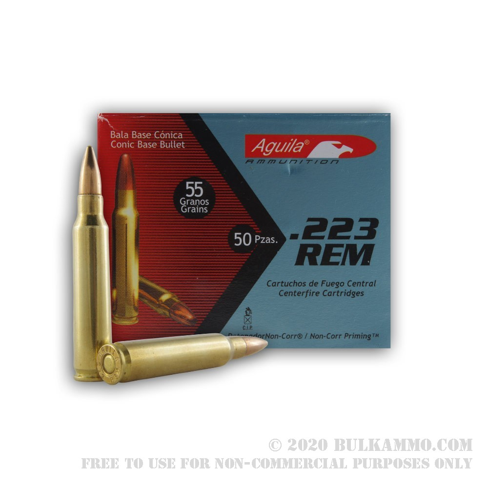 50 Rounds Of Bulk 223 Ammo By Aguila 55gr Fmj