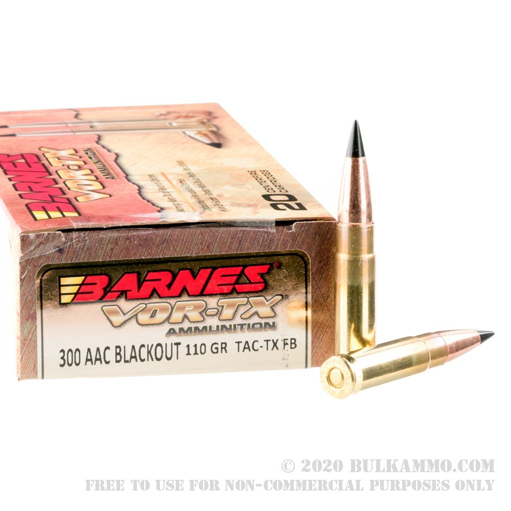 200 Rounds of Bulk .300 AAC Blackout Ammo by Barnes VOR-TX ...