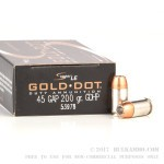 50 Rounds of .45 GAP Ammo by Speer - 200gr JHP