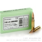 20 Rounds of Subsonic .308 Win Ammo by Sellier & Bellot - 200gr HPBT