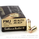 50 Rounds of .45 ACP Ammo by Sellier & Bellot - 230gr FMJ