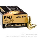 50 Rounds of .357 SIG Ammo by Sellier & Bellot - 140gr FMJ