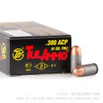 50 Rounds of .380 ACP Ammo by Tula - 91gr FMJ