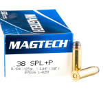50 Rounds of .38 Spl +P Ammo by Magtech - 125gr SJHP