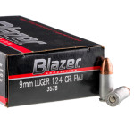 50 Rounds of 9mm Ammo by CCI - 124gr FMJ