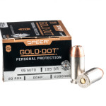 20 Rounds of .45 ACP Ammo by Speer - 185gr JHP