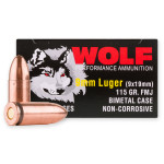 1350 Rounds of 9mm Ammo by Wolf - 115gr FMJ **STEEL CASES**