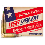 125 Rounds of 5.56x45 Ammo by Winchester USA VALOR - 62gr FMJ M855