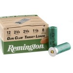 250 Rounds of 12ga Ammo by Remington Gun Club - 1 1/8 ounce #8 shot