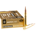 20 Rounds of 8mm Mauser Ammo by Prvi Partizan Match - 200gr FMJBT