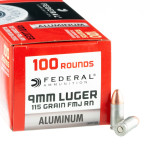 100 Rounds of 9mm Ammo by Federal Champion Aluminum - 115gr FMJ
