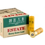 "250 Rounds of 20ga 2-3/4"" Ammo by Estate Cartridge Heavy Game Load - 1 ounce #8 shot"