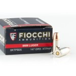 25 Rounds of 9mm Ammo by Fiocchi - 147gr JHP