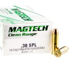 50 Rounds of .38 Spl Ammo by Magtech Clean Range - 158gr FEB