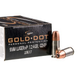 500 Rounds of 9mm +P Ammo by Speer Gold Dot - 124gr JHP